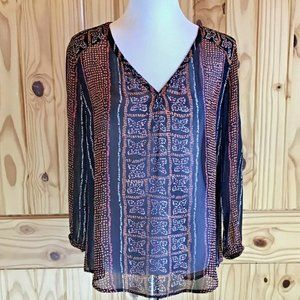 Lucky Brand Sheer 3/4 Sleeve Top with Fall Colors
